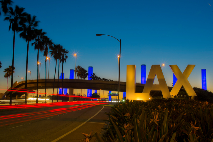 LAX Los Angeles International Airport Sign at Night