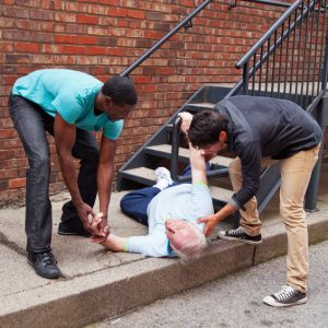 senior citizen falls down steps